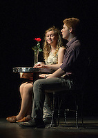 "Cordelia Penney and William Crowell on a blind date during dress rehearsal for ""Sure Thing""  one of six short comedies in Gilford High School's ""All In The Timing"" Tuesday afternoon.  (Karen Bobotas/for the Laconia Daily Sun)"