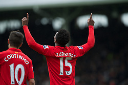 12.05.2013, Craven Cottage, London, ENG, Premier League, FC Fulham vs FC Liverpool, 37. Runde, im Bild Liverpool's Daniel Sturridge celebrates scoring the second goal against Fulham during during the English Premier League 37th round match between Fulham FC and Liverpool FC at the Craven Cottage, London, Great Britain on 2013/05/12. EXPA Pictures © 2013, PhotoCredit: EXPA/ Propagandaphoto/ David Rawcliffe..***** ATTENTION - OUT OF ENG, GBR, UK *****