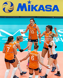 19-10-2018 JPN: Semi Final World Championship Volleyball Women day 20, Yokohama<br /> Serbia - Netherlands / Laura Dijkema #14 of Netherlands, Lonneke Sloetjes #10 of Netherlands, Anne Buijs #11 of Netherlands, Kirsten Knip #1 of Netherlands