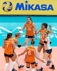 19-10-2018 JPN: Semi Final World Championship Volleyball Women day 20, Yokohama<br /> Serbia - Netherlands / Laura Dijkema #14 of Netherlands, Lonneke Sloetjes #10 of Netherlands, Anne Buijs #11 of Netherlands, Kirsten Knip #1 of Netherlands