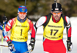 12.12.2010, Biathlonzentrum, Obertilliach, AUT, Biathlon Austriacup, Verfolgung Men, im Bild Andrey Turgenev (RUS, #1) und Daniel Salvenmoser (AUT, #17). EXPA Pictures © 2010, PhotoCredit: EXPA/ J. Groder