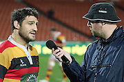 Nigel Yalden from radio sport interviews Marty Holah after ther 35- 6 win ,Round 5 ITM cup Rugby match, Waikato v Tasman, at Waikato Stadium, Hamilton, New Zealand, Friday 29 July 2011. Photo: Dion Mellow/photosport.co.nz