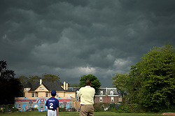 Severe weather builds up over Northwest Philadelphia, PA, on Primary Election Day, May 15, 2018.