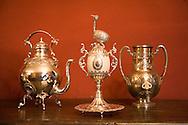 Handmade silver pieces at the studio of Juan Carlos Pallarols, Silversmith, Buenos Aires