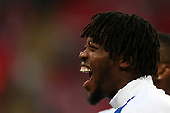Nathaniel Chalobah of England has a joke ahead of k/o.  FIFA World cup qualifying match, European group F, England v Slovakia at Wembley Stadium in London on Monday 4th September 2017.<br /> pic by Andrew Orchard, Andrew Orchard sports photography.