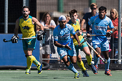 (L-R) Simjanreet Singh of India, Eddie Ockenden of Australia during the Champions Trophy finale between the Australia and India on the fields of BH&BC Breda on Juli 1, 2018 in Breda, the Netherlands.