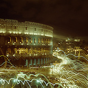 A Panoramic view of Rome at night showing the Coliseum  in Rome, Italy on May 16, 2007 Photo Tim Clayton