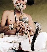 Snake Charmer with a Cobra, Gandhi Nager, Lucknow, Uttar Pradesh, India