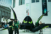 Bp-or-not-BP stage a splash mob art intervention at the British Museum in protest against the continued BP sponsorship of the exhibition Sunken Cities 25th of September 2016.A flock of merfolk and BP pirates roamed the museum as well as a kraken, a giant sea monster.