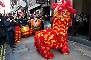 Busy street scene during Chinese New Year celebrations as a Lion Dance enters restaurants in Chinatown to bless them for the year ahead in central London, United Kingdom. Tens of thousands of people gathered in the West End filling the streets and joining in with the festival atmosphere.