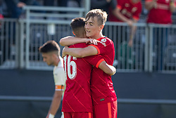 LIVERPOOL, ENGLAND - Wednesday, September 15, 2021: Liverpool's match-winning goal-scorer Max Woltman (R) celebrates with substitute Oakley Cannonier after the UEFA Youth League Group B Matchday 1 game between Liverpool FC Under19's and AC Milan Under 19's at the Liverpool Academy. Liverpool won 1-0. (Pic by David Rawcliffe/Propaganda)