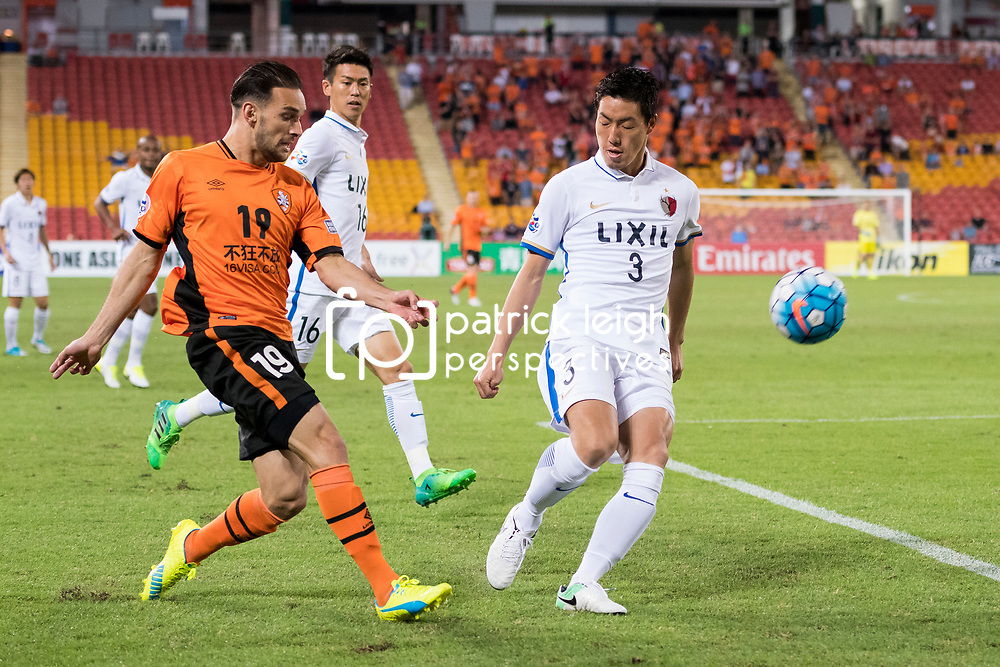 BRISBANE, AUSTRALIA - APRIL 12: Jack Hingert of the Roar crosses the ball during the Asian Champions League Group Stage match between the Brisbane Roar and Kashima Antlers at Suncorp Stadium on April 12, 2017 in Brisbane, Australia. (Photo by Patrick Kearney/Brisbane Roar)