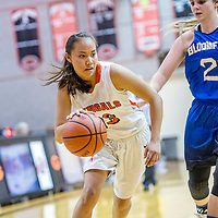 Gallup Bengal Hanna Toledo (13), left, drive against Bloomfield Bobcat Halle Payne (21) at Gallup High School Saturday.