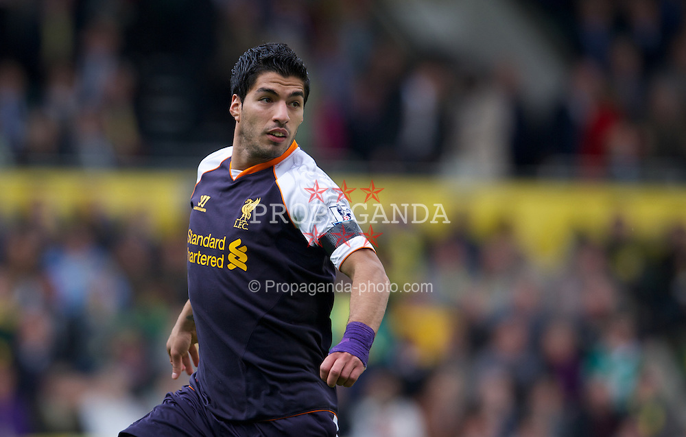 NORWICH, ENGLAND - Saturday, September 29, 2012: Liverpool's Luis Alberto Suarez Diaz in action against Norwich City during the Premiership match at Carrow Road. (Pic by David Rawcliffe/Propaganda)