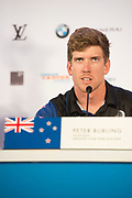 Peter Burling, Helmsman for Emirates Team New Zealand. 35th America's Cup opening press conference. 25/5/2017