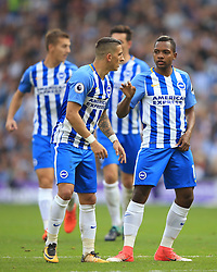 15 October 2017 -  Premier League - Brighton and Hove Albion v Everton - Anthony Knockaert of Brighton and Hove Albion speaks to team mate Jose Izquierdo - Photo: Marc Atkins/Offside