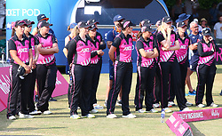 July 1, 2018 - London, Greater London, United Kingdom - New Zealand Women (White Ferns) players.during International Twenty20 Final match between England Women and New Zealand Women  (White Ferns) at The Cloudfm County Ground, Chelmsford, England on 01 July 2018. (Credit Image: © Kieran Galvin/NurPhoto via ZUMA Press)