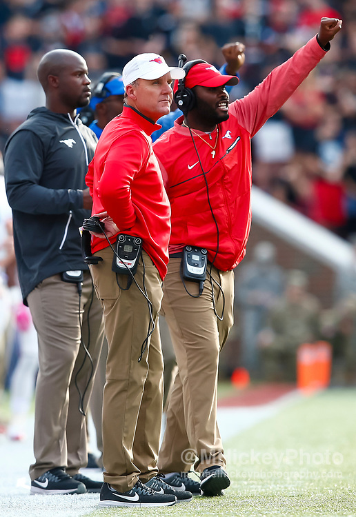 CINCINNATI, OH - OCTOBER 21: Head coach Chad Morris of the Southern Methodist Mustangs is seen during the game against the Cincinnati Bearcats at Nippert Stadium on October 21, 2017 in Cincinnati, Ohio. (Photo by Michael Hickey/Getty Images) *** Local Caption *** Chad Morris