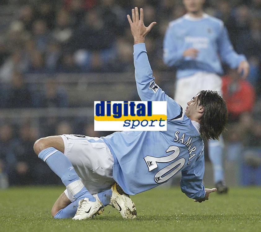 Photo: Aidan Ellis.<br /> Manchester City v Charlton Athletic. The Barclays Premiership. 12/02/2006.<br /> City's Georgis Samaras falls down as if he has been shot
