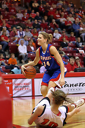 25 November 2007: Allie Quigley looks at the referee in disbelief as Kristi Cirone falls to the floor. The DePaul Blue Demons defeated the Illinois State Redbirds 80-75 on Doug Collins Court at Redbird Arena in Normal Illinois