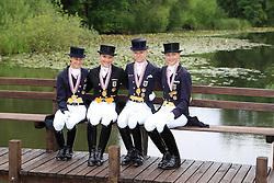 Prize giving Young Riders team competition :<br /> 1.Germany :  Louisa Lüttgen, Sanneke Rothenberger, Charlott-Maria Schümann, Annabel Frenzen, chef d'equipe Maria Schierhölter-Otto<br /> European Championship Dressage Young Riders - Broholm 2011