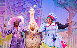 Mother Goose <br /> at the Hackney Empire, London, Great Britain <br /> press photocall<br /> 20th November 2014 <br /> <br /> Sharon D Clarke as Charity <br /> Alix Ross as Priscilla (the Goose) <br /> Clive Rowe as Mother Goose <br /> <br /> Photograph by Elliott Franks <br /> Image licensed to Elliott Franks Photography Services