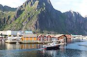 Tourist boat in harbour at Svolvaer, Lofoten Islands, Nordland, Norway