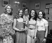 Pepsi Personality Girl, Swords.   (J64)..1975..13.07.1975..07.13.1975..13th July 1975..At Fingallian's GAA club, Ms Deirdre Murphy of St Columbas Road,Swords was selected as Miss Pepsi Personality Girl for the Swords district. Her selection was made at The Gala Marquee Dance in the club. the event was sponsored by Cantrell & Cochrane. The Dublin final will be held later this year...Image shows Ms Deirdre Murphy with members of the Fingallians GAA club after she won the Swords Heat of the Miss Pepsi Personality Girl Contest.