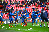 Shrewsbury players warm up during the EFL Trophy Final match between Lincoln City and Shrewsbury Town at Wembley Stadium, London, England on 8 April 2018. Picture by John Potts.
