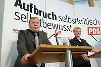 25 AUG 2003, BERLIN/GERMANY:<br /> Lothar Bisky (L), PDS Parteivorsitzender, und Gaby Zimmer (R), Vorsitzende Programmkommission, waehrend einer Pressekonferenz zur Vorstellung des neuen Parteiprogramms der PDS, Karl-Liebknecht-Haus<br /> IMAGE: 20030825-02-018<br /> KEYWORDS: Programm