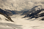 Sepia tonied view down the Jungfraufirn glacier from the Jungfraujoch, Swiss Alps