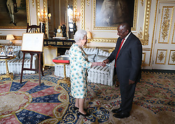 Queen Elizabeth II receives the South Arican President Cyril Ramaphosa during an audience at Windsor Castle, Berkshire.
