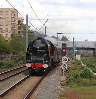 LMS Princess Coronation Class 6233 Duchess of Sutherland steam locomotive, Ealing Broadway station, London, UK, 25 April 2019, Photo by Richard Goldschmidt