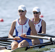 Olympic Games,  Athens, GREECE. Lake Schinias.<br /> GBR W2X Bow Elise Laverick and Sarah Winckless, move away from the start on the opening day of the Olympic regatta.<br /> Photo  Peter Spurrier.  email images@intersport-images.com <br /> [Mandatory Credit Peter Spurrier/ Intersport Images]