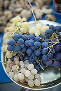 Close up of harvested white and blue grapes, Lesbos, Greece
