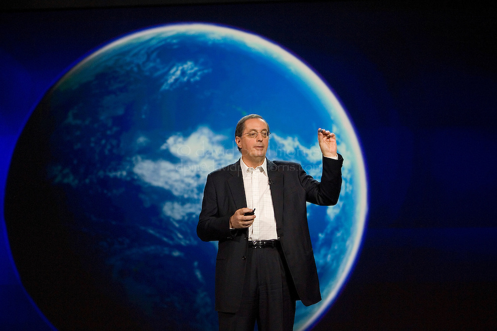 LAS VEGAS, NV - JANUARY 7: Paul Otellini, Intel president and CEO delivers a keynote address at the 2008 International Consumer Electronics Show at the Venetian January 7, 2008 in Las Vegas, Nevada. He predicted that mobile internet devices will be the next big thing in computing which allows users to stay connected, be entertained and have access to the full Internet while on the go. CES, the world's largest annual consumer technology tradeshow, runs from January 7-10 and features 2,700 exhibitors showing off their latest products and services to more than 140,000 attendees.  (Photograph by David Paul Morris)