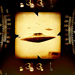 UFO flying Saucer Military Secret Scope Sighting Retro Mid Century Foo Fighters Atomic Space Age in sepia