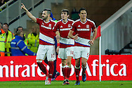 Middlesbrough forward, on loan from Valencia, Alvaro Negredo (10) scores a goal and celebrates to make the score 2-0 during the The FA Cup match between Middlesbrough and Sheffield Wednesday at the Riverside Stadium, Middlesbrough, England on 8 January 2017. Photo by Simon Davies.