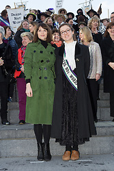 "© Licensed to London News Pictures. 08/03/2015. London, UK. Gemma Arterton with Laura Pankhrst at the ""Walk In Her Shoes"" event to mark International Women's Day at The Scoop amphitheatre on the south bank in London. Photo credit : Vickie Flores/LNP"