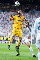 Real Madrid Jesus Vallejo and Juventus Gonzalo Higuain during Champion League match between Real Madrid and Juventus at Santiago Bernabeu Stadium in Madrid, Spain. April 11, 2018. (ALTERPHOTOS/Borja B.Hojas)