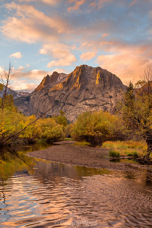 Rush Creek and Carson Peak at Dawn in Fall, Inyo National Forest, Mono County, California