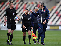 Football - 2020 / 2021 Sky Bet League Two - Newport County  vs Cheltenham Town - Rodney Parade<br /> <br /> Cheltenham Town manager Michael Duff protests to Referee Scott Oldham after a penalty appeal for handball is turned down.<br /> <br /> COLORSPORT/ASHLEY WESTERN