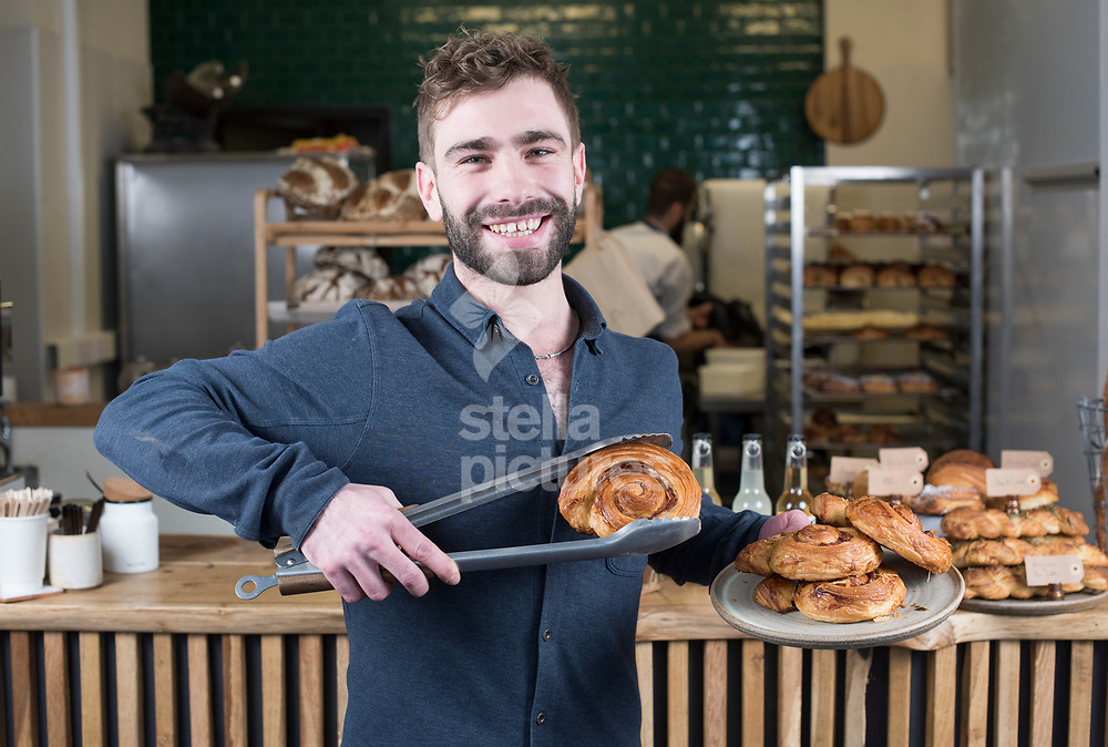 Pophams Bakery owner Ollie Gold with Maple bacon croissants.<br /> Picture by Daniel Hambury/@stellapicsltd 07813022858<br /> 22/01/2018