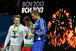 02.08.2013, Barcelona, ESP, FINA, Weltmeisterschaften für Wassersport, Medailliengewinner, im Bild Daniel Gyurta from Hungary, gold medal, Marco Koch from Germany, silver medal. Matti Mattsson, bronze medal from Finland at 200m Breastrocke Men Finalist Victory Ceremony // during the FINA worldchampionship of waterpolo, medalists in Barcelona, Spain on 2013/08/02. EXPA Pictures © 2013, PhotoCredit: EXPA/ Pixsell/ HaloPix<br /> <br /> ***** ATTENTION - for AUT, SLO, SUI, ITA, FRA only *****