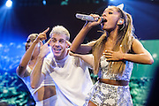 """WASHINGTON, DC - December 15th, 2014 - Ariana Grande performs onstage during HOT 99.5's Jingle Ball 2014 at the Verizon Center in Washington, D.C. Her 2014 album My Everything contained the hit singles """"Problem"""" and Break free."""" (Photo By Kyle Gustafson / For The Washington Post)"""