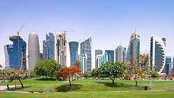 Daytime skyline of office towers in business district in Doha Qatar