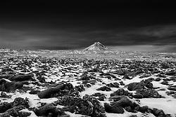 The mountain Keilir and ice covered moss in front, Iceland - Fjalllið Keilir með snævi þakinn mosa í forgrunni