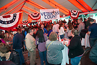 Veterans Count and the Naswa Resort's Red, White and Brew Fest was well attended on Saturday afternoon under the tent at Funspot.  (Karen Bobotas/for the Laconia Daily Sun)