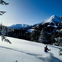SKIING, Big Sky MT, Sinuhe (MR) skiing at Big Sky, MT.