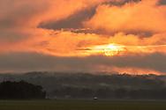 Sunset over Black Dirt fields on July 3, 2020.